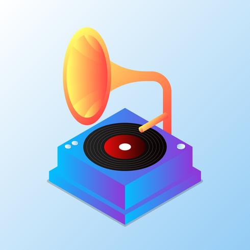 Vintage Gramophone Modern Illustration