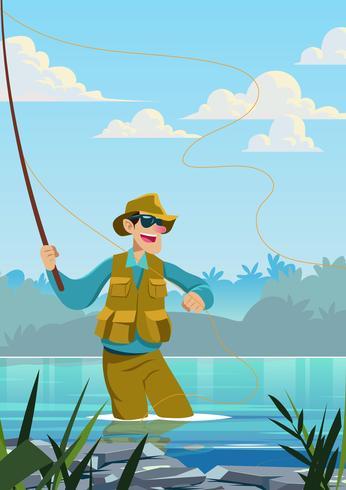 Flyga Fisherman Catching Fish