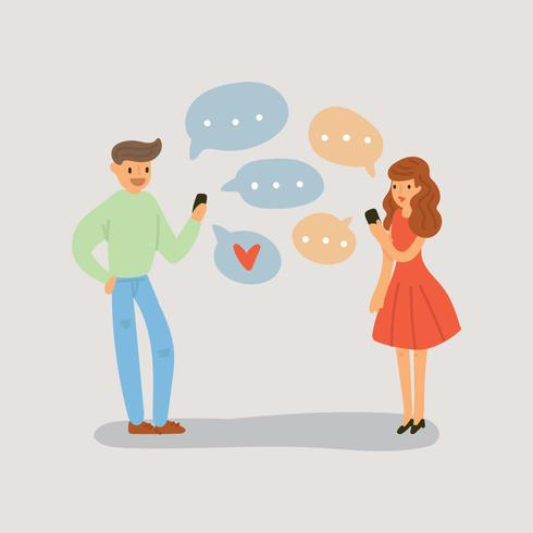 Lovely Couple Having an Online Conversation vector