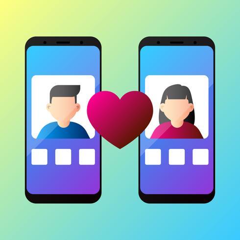 Concepto de aplicación de citas en línea con ilustración de Vector de hombre y mujer