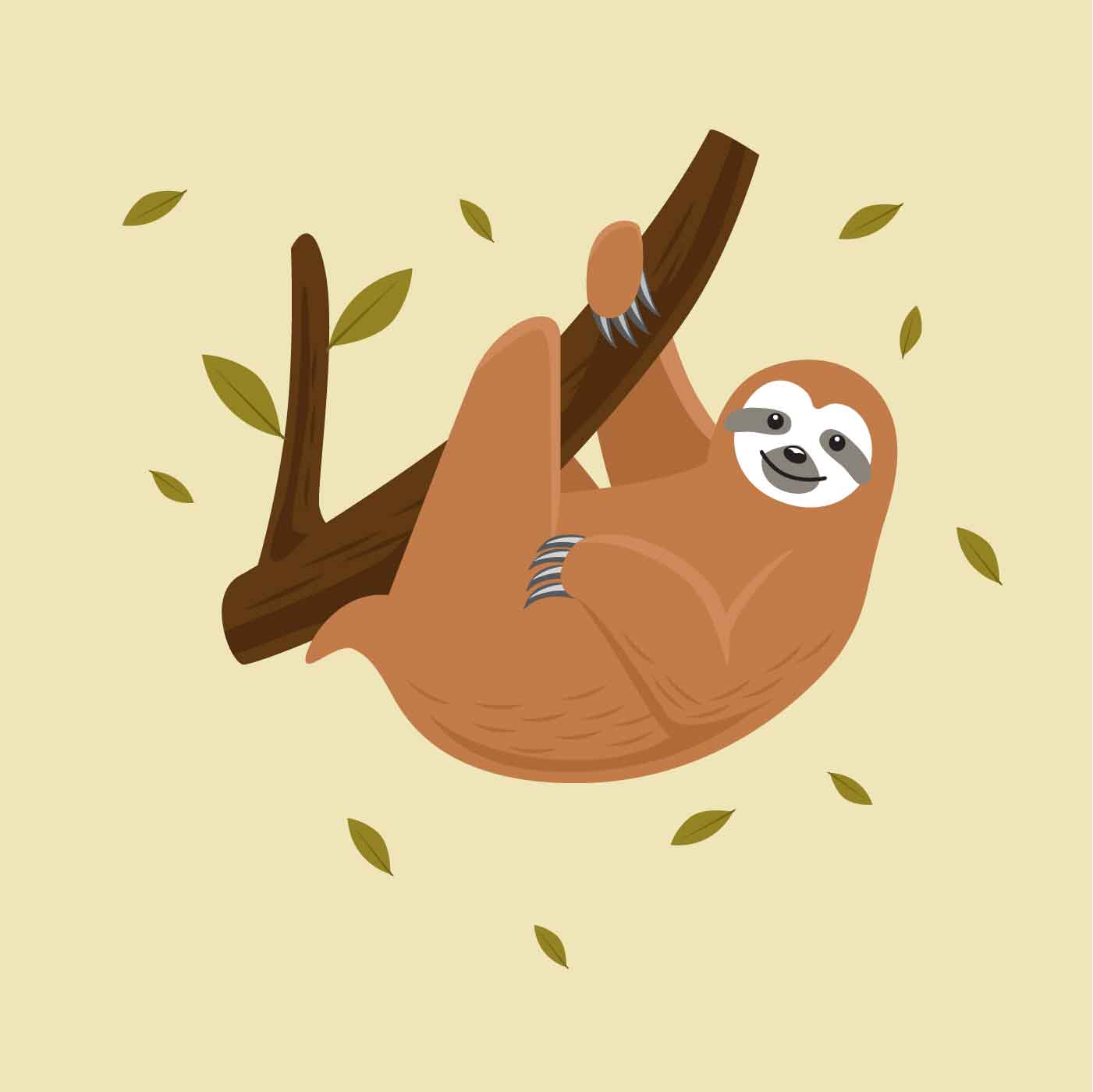 Sloth Vector Illustration - Download Free Vector Art ...