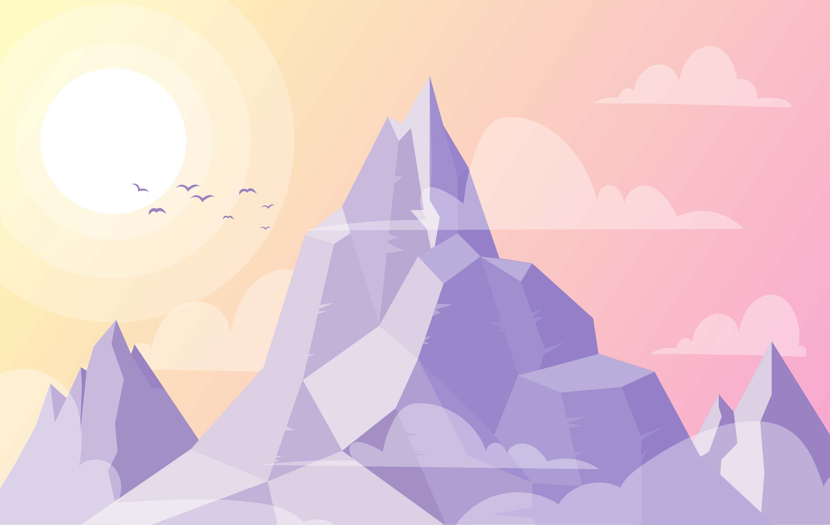 Landscape Illustration Vector Free: Vector Mountain Landscape Illustration