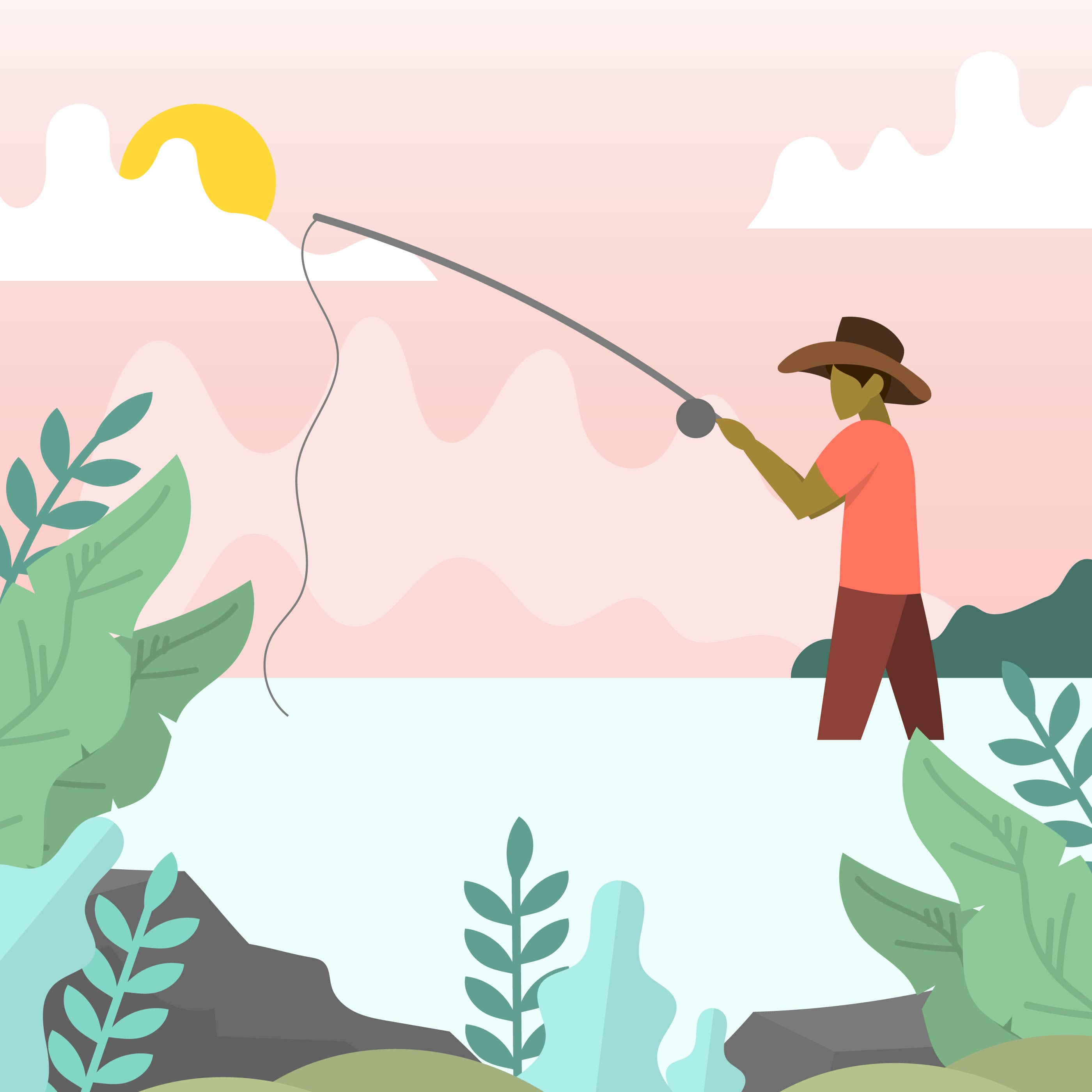 Flat Modern Fly Fisherman With Minimalist Background
