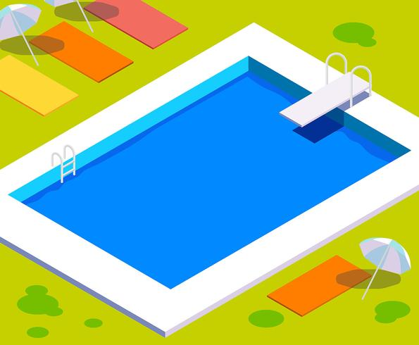 Weinlese-Swimmingpool-Illustration