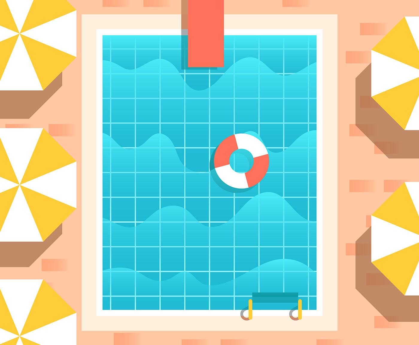Vintage Swimming Pool Illustration Download Free Vectors