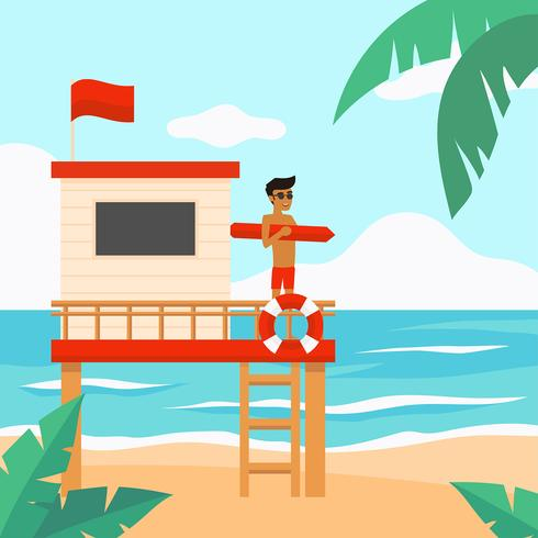 Lifeguard Beach Vector
