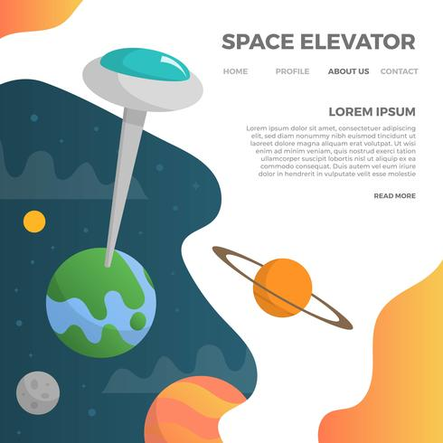 minimalist 2D Space Elevator with modern galaxy background vector illustration