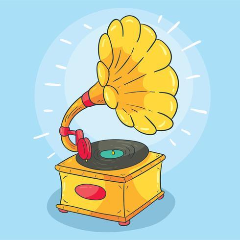 Mão desenhada gramofone vector
