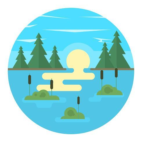 Paysage de lac plat vecteur