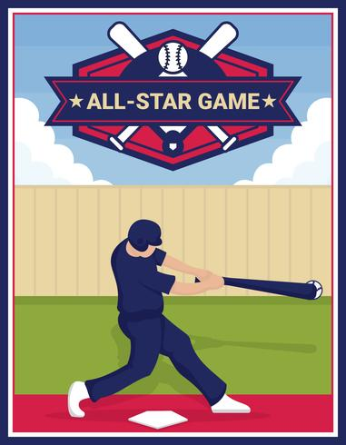 Manifesto di vettore All-Star di baseball
