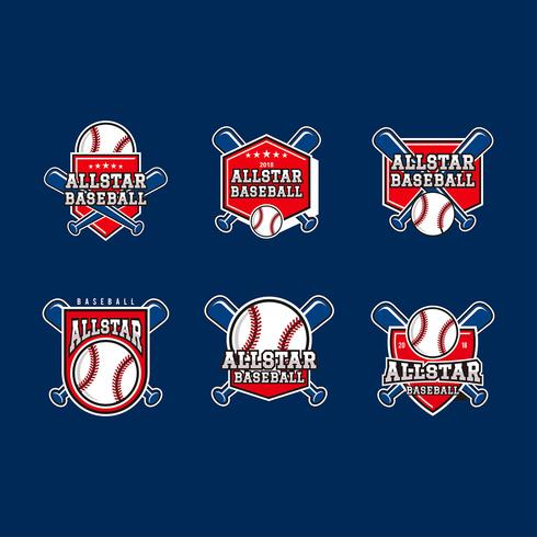 All-Star Baseball Emblems Vector