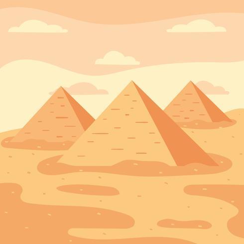 Pirámides en el vector del desierto