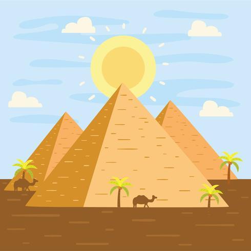 Vector de pirámides plana