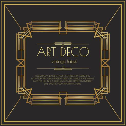 Gold Art Deco Vector Label