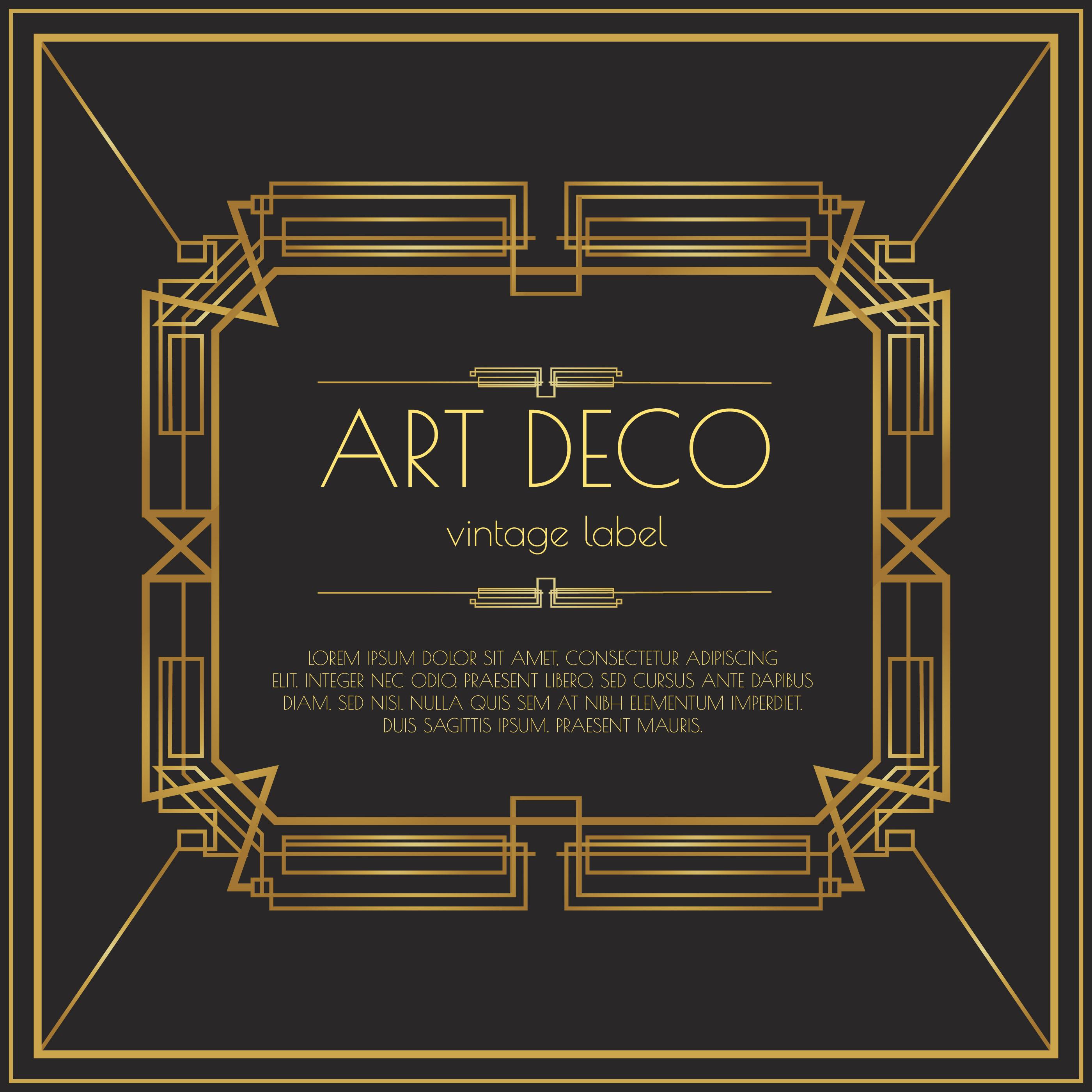 Gold Art Deco Vector Label Download Free Vectors