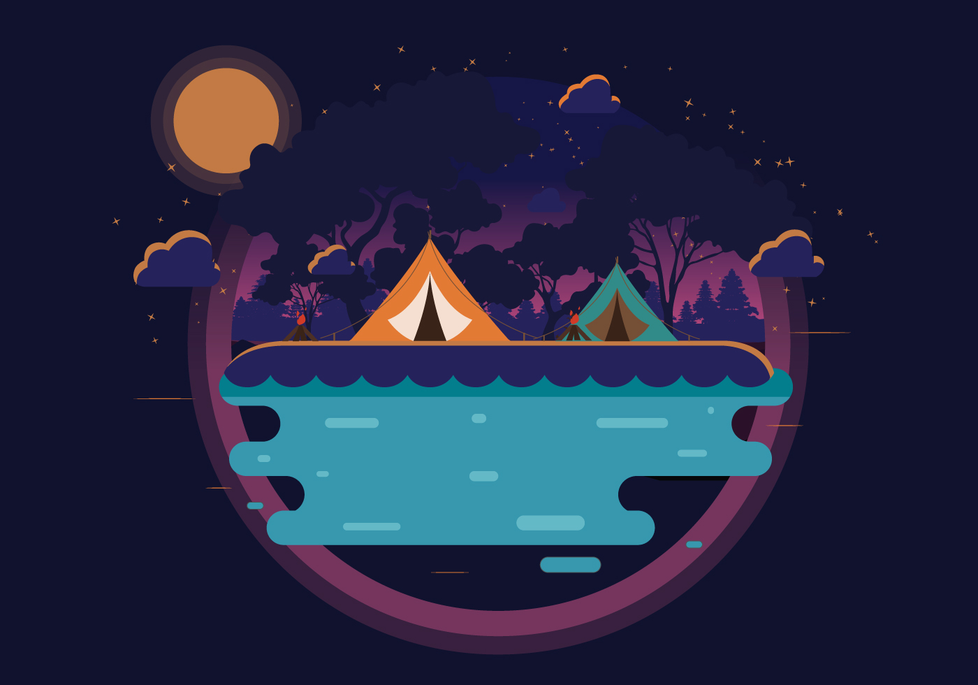 Night Camping in Mountain Vector - Download Free Vectors ...