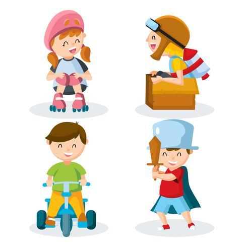 Verschiedene Kinder, die Set spielen