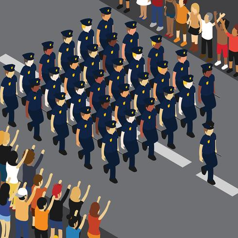 Police Parade Illustration