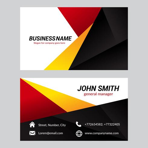 Free Vector Modern Geometric Business Card. Black, Red, Orange And White Colors