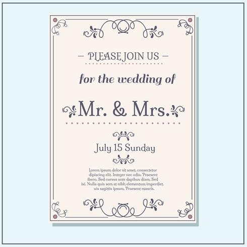 Lovely Wedding Invitation Vector
