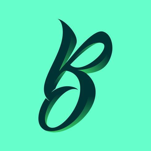3D Script Letter B Typography Vector