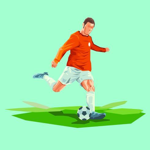 Kreativ fotbollsspelare sparkar bollvexillustrationen