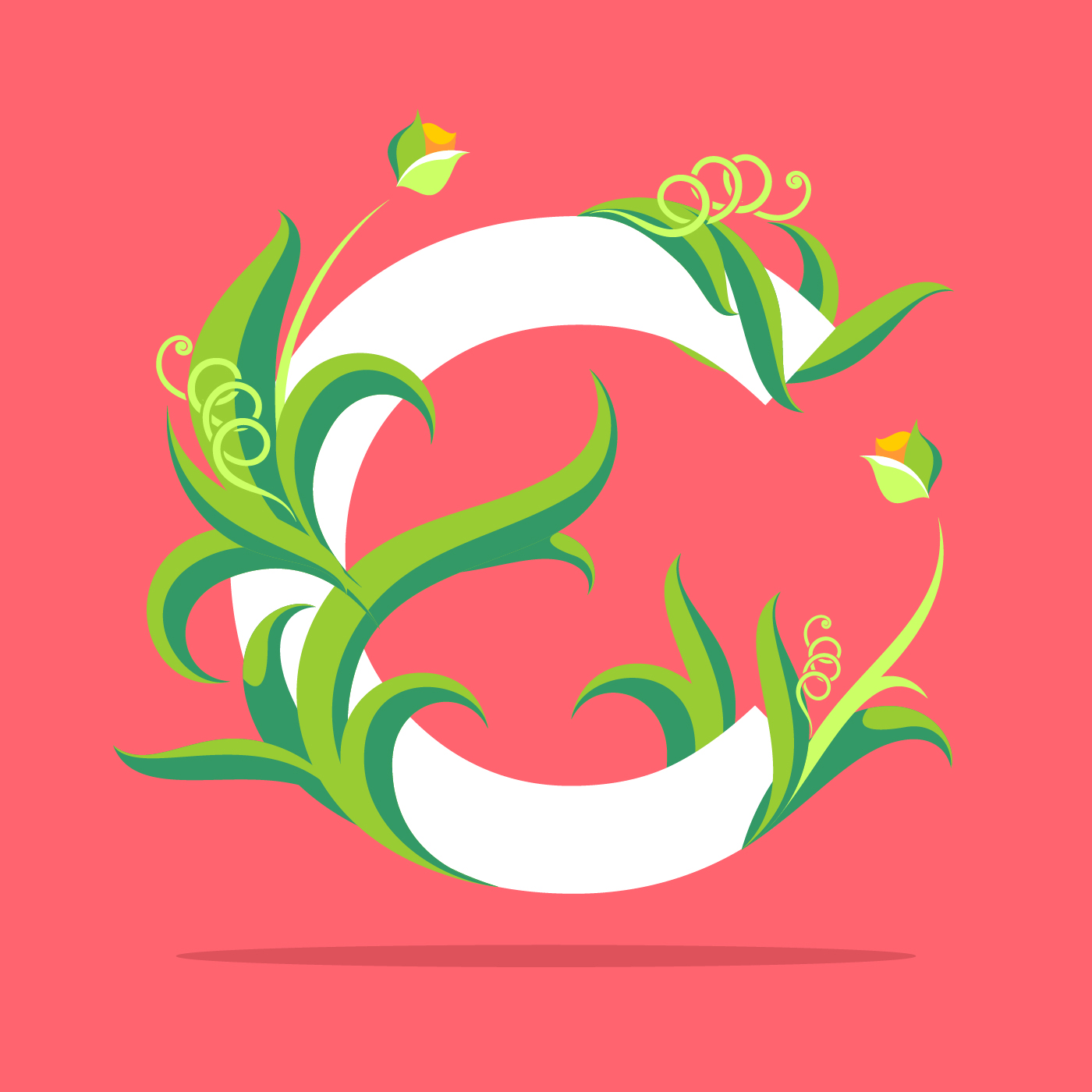Natural Letter C Typography Vector
