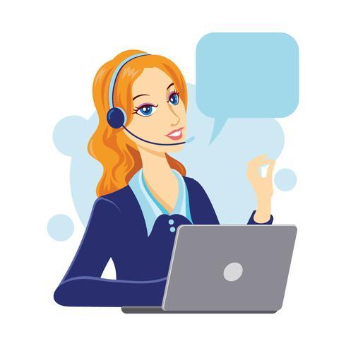 Personagem de mulher de serviço ao cliente com discurso de bolha