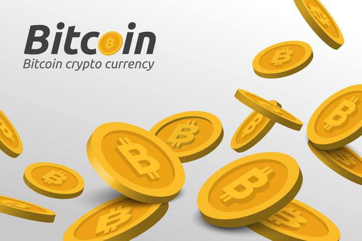 Golden Bitcoin sign on white background