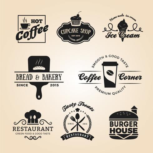 Set of food and drink badges logo