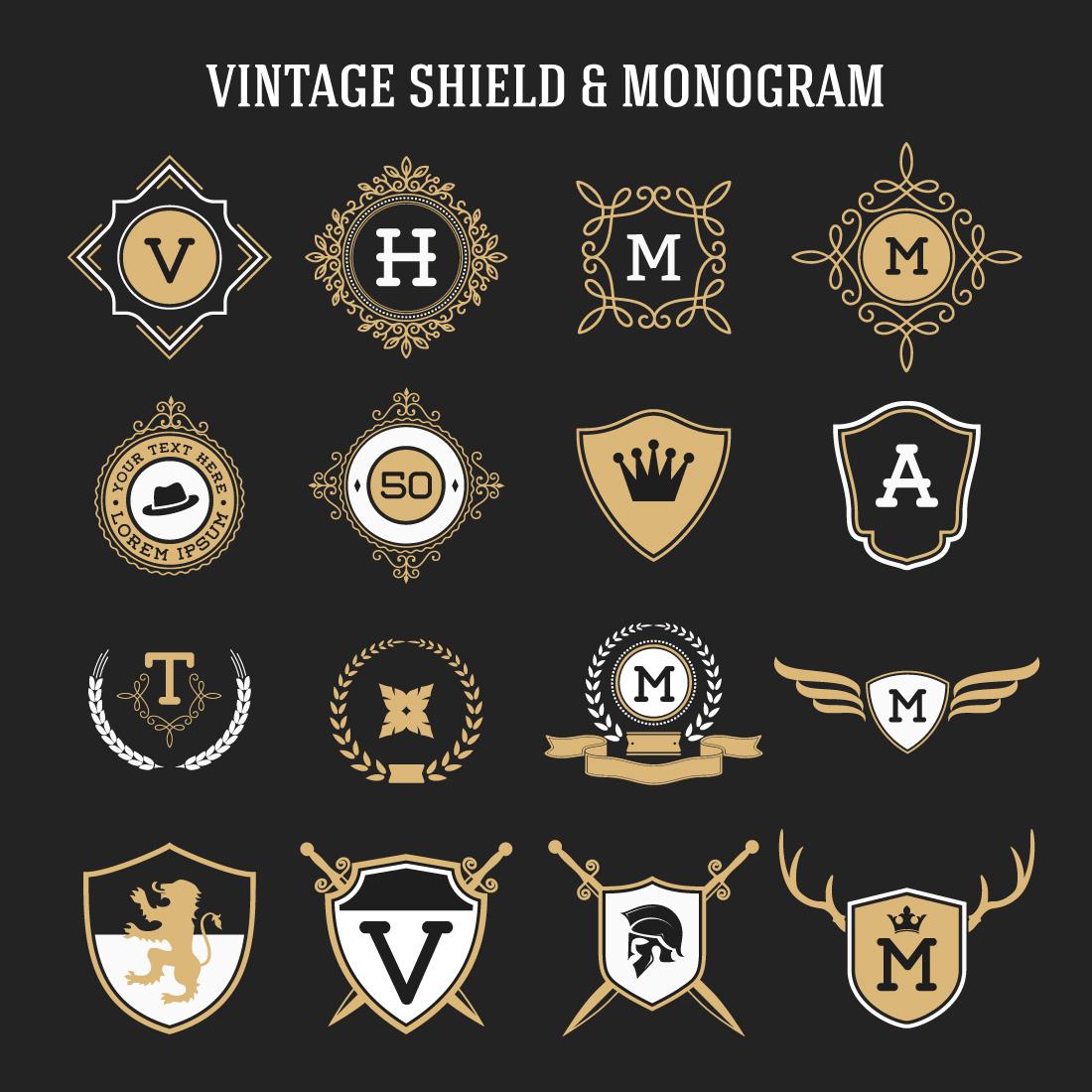 Vintage Ribbon Banners: Set Of Vintage Monogram And Shield Elements