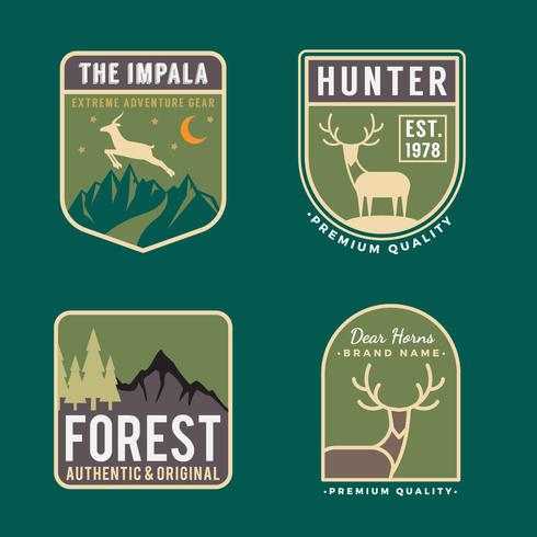 Set of trekking badge logo