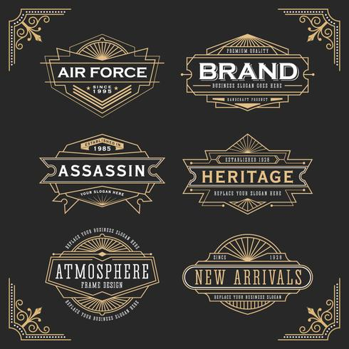 Vintage line frame design for labels vector