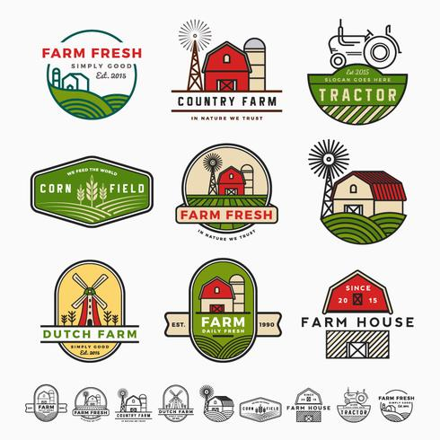Vintage modern farm logo template design