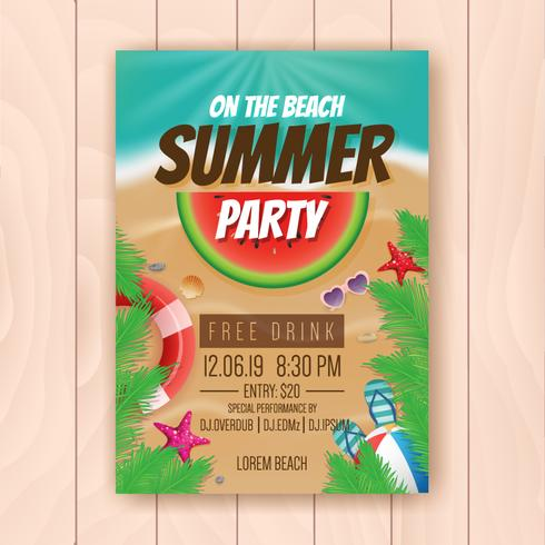 On the beach summer party advertising poster design