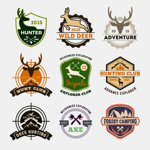Set of hunting and adventure badge design for emblem