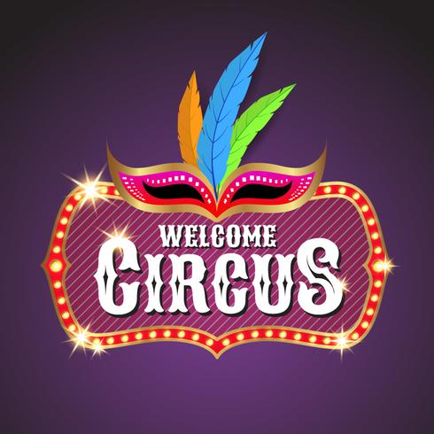 Circus banner background design with light bulbs frame