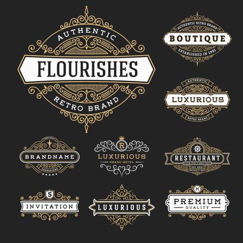 Vintage floresce coleção de rótulo de Banner de quadro