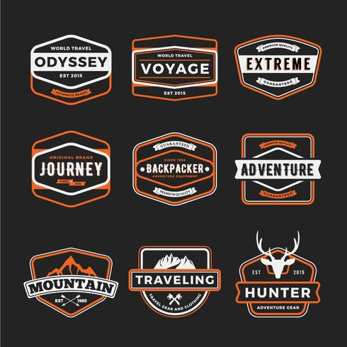 Set van badge logo outdoor avontuur en reizende gear badge lo vector