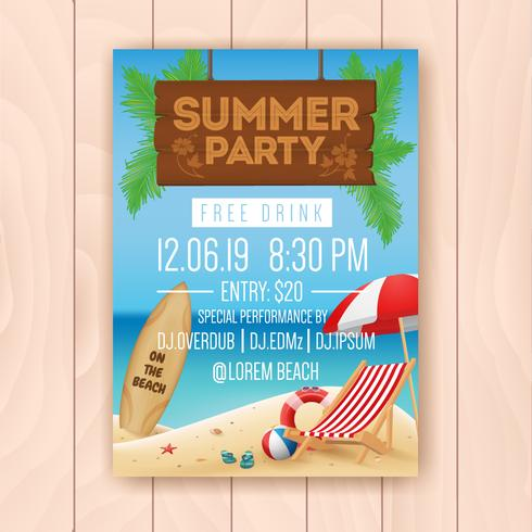 Summer party advertising poster design with hanging signboard an