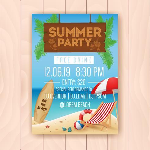 Festa de verão publicidade design de cartaz com a tabuleta de suspensão