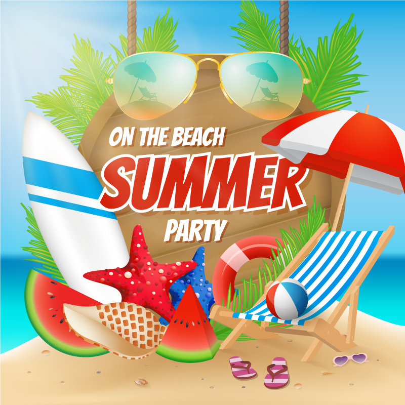 Summer Party On The Beach Poster Design With Decoration