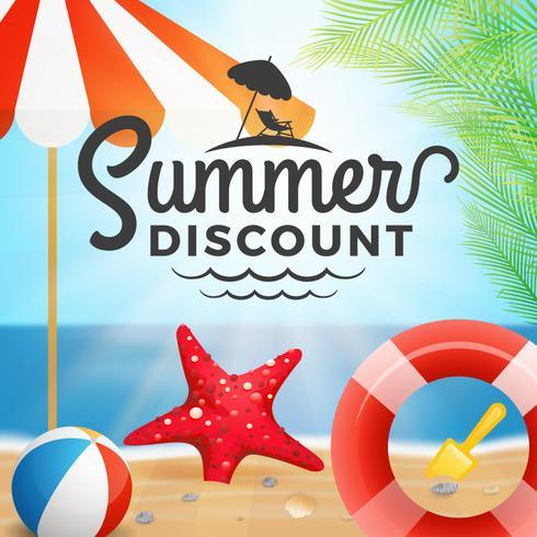 Sommer Rabatt Typografie und Urlaub Hintergrund