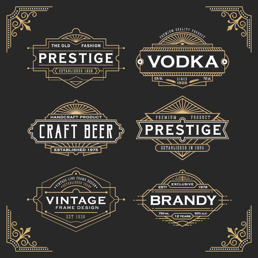 Vintage line frame design for labels - Download Free ...