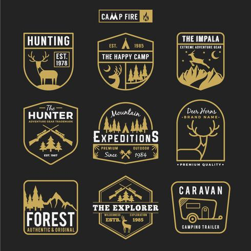 Set of camping outdoor and adventure gears badge logo