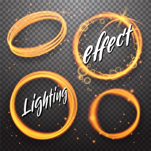 Set of circle and eclipse shining light effects