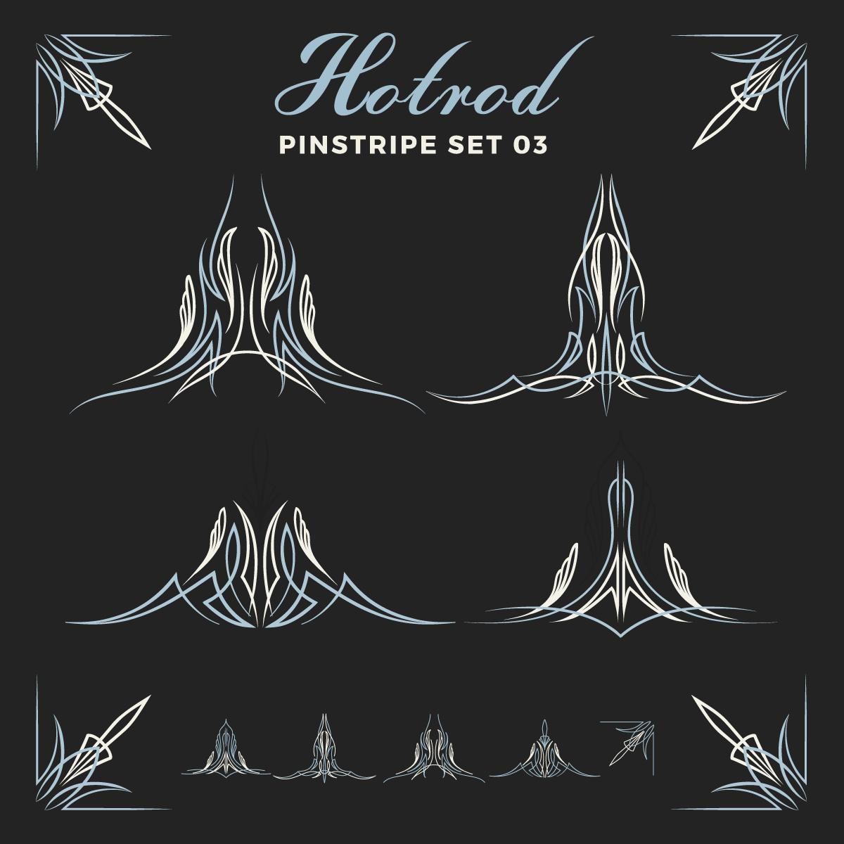 Set Of Vintage Pin Striping Line Art Download Free