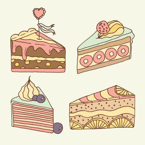 Illustration de gâteau de vecteur. Ensemble de 4 gâteaux dessinés à la main.