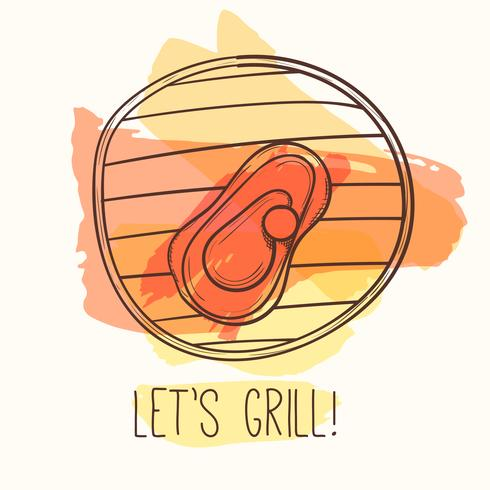 Grill illustration with meat. Vector steak on grill. Hand drawn barbecue