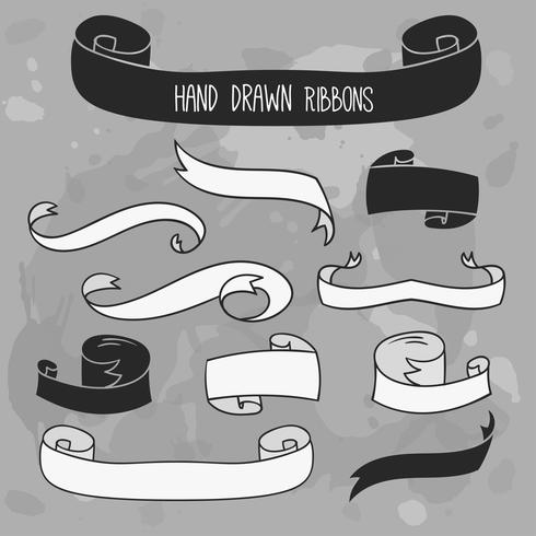 Hand drawn ribbons set. Vector banners on grunge background.